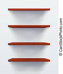 Wooden Shelves Realistic on Grey Background