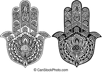 Hamsa painted in the style of mehnd - black and white...