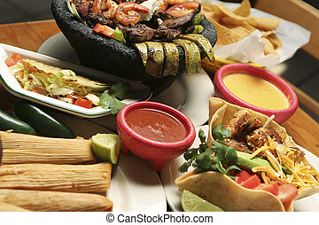 Mexican Food - Horizontal - Horizontal shot of a variety of...