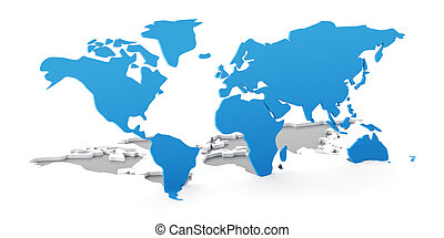 Detail 3d world map flipping up from white background, 3d...