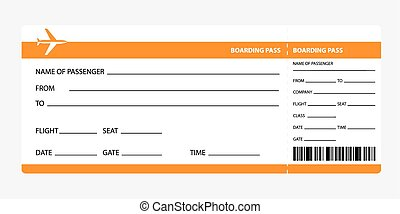 orange boarding pass - Airplane ticket blank space. orange...