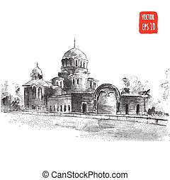 Hand drawn Cathedral - Cathedral building Hand drawn...