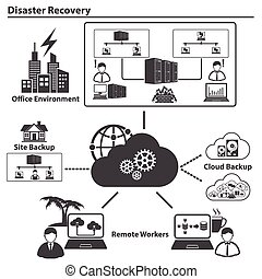 Big Data icons set, Cloud computing concept