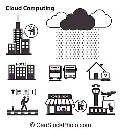 Big data icons set, Cloud computing