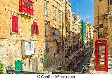 Streetview of Valletta, Malta - Streetview of Valletta with...