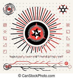 Vector Flat Design Head's Up Display Infographics Elements in Red White and Black Colrs. Abstract Futuristic Techno Alien Logo Symbols. HUD Icons  Set.eps