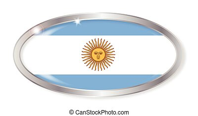Argentina Flag Oval Button - Oval silver button with the...