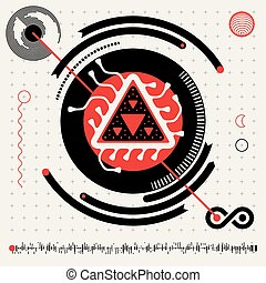 Vector Flat Design Head's Up Display Infographics Elements Set in Red White and Black Colrs. Abstract Futuristic Techno Alien Logo Symbols. HUD icons.eps
