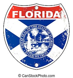 Florida Interstate Sign - Florida interstate sign with flag...
