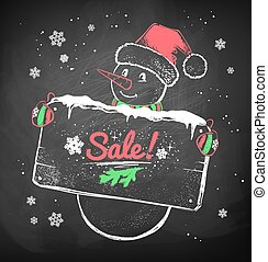 Christmas Snowman with sale signboard. - Color chalk vector...