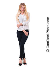 Full length of beautiful blond business woman standing over...