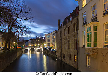 Bruges canal view at blue hour, Belgium