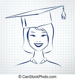 Student girl wearing graduation hat. - Asian student girl...