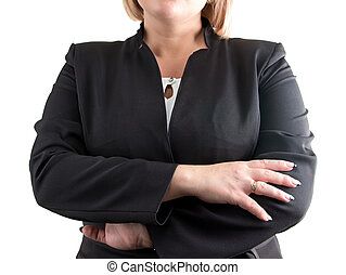 Business lady on white with arms crossed. Isolated photo...