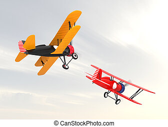 Two biplanes flying in the sky.