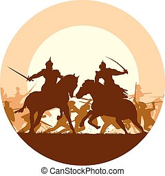 Fight of two mounted warriors - Abstract round logo of...