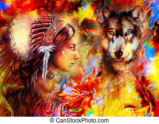 young indian woman wearing with wolf and feather headdress...
