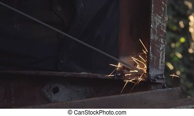 Arc welding, close up - Close up footage of shielded metal...