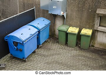 Dust bin containers - Household waste waiting to be taken...
