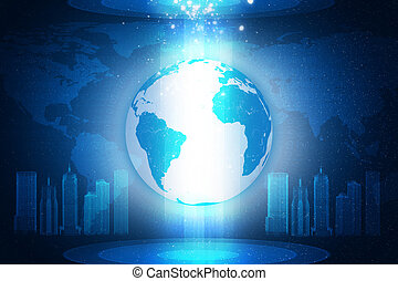 Earth on abstract blue background with 3d city
