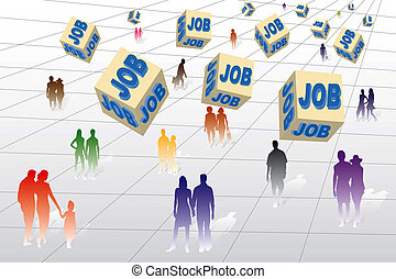 Job - Many unemployed people looking for a job