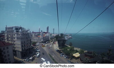 View from cable car - View part of port of Batumi from...