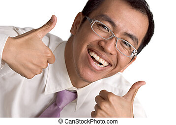 Happy business man extended thumb on white background