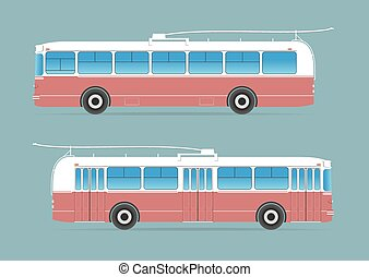 Trolleybus isolated on background. Vector illustration. EPS...