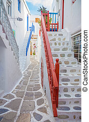 Streetview with stairs of Mykonos town, Greece