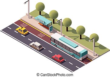Vector isometric bus stop - Isometric icon representing bus...