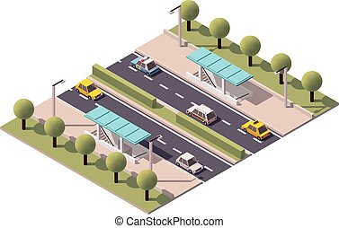 Vector isometric highway underpass - Isometric subway...