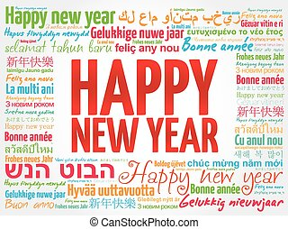 Happy New Year in different languages, greeting card - Happy...