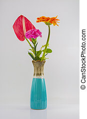 vase and flower isolate on the white background