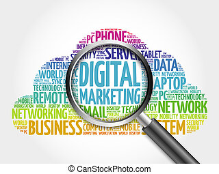 Digital marketing word cloud with magnifying glass