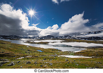 Snow and lake in Jotunheimen national park