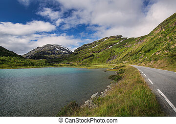 Turquoise lake in Jotunheimen national park