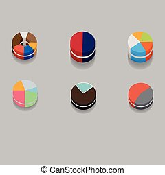 set of 3D pie charts business items without numbers - 3D...