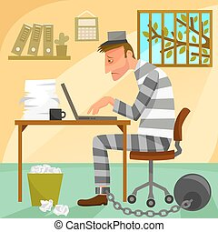 prisoner of work - depressed worker presented as a prisoner...