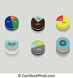 set of 3D pie charts business items and stats with the...