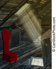 attic - spooky attic with red chair and candle