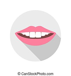 Vector Woman Mouth with white Teeth and red Lips Closeup...