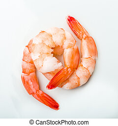 Gambas draped on a white background