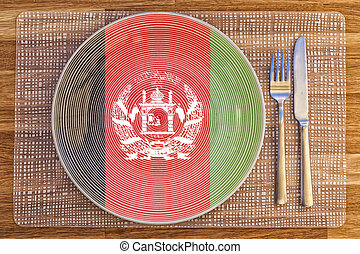 Dinner plate for Afghanistan - Dinner plate with the flag of...