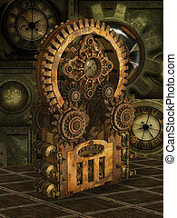 Fantasy scene with steam punk style in gold