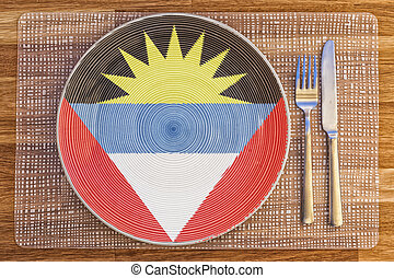 Dinner plate for Antigua and Barbuda - Dinner plate with the...