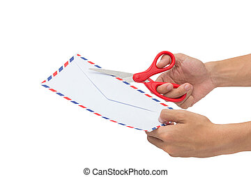 Cutting a letter, Openning an envelope with scissors...