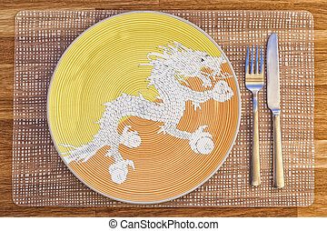 Dinner plate for Bhutan - Dinner plate with the flag of...