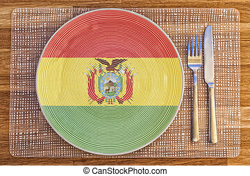 Dinner plate for Bolivia - Dinner plate with the flag of...