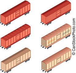 Isometric refrigereator car - Vector image of a set of...
