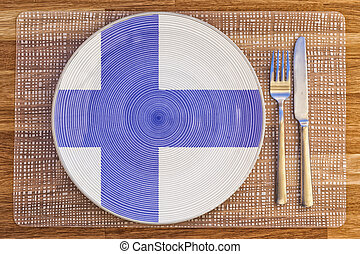 Dinner plate for Finland - Dinner plate with the flag of...